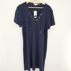 Calvin Klein Large Pull On Lace-Up T-Shirt Dress